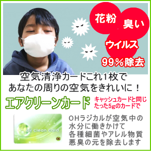 花粉・ウィルス・悪臭を99%除去−エアクリーンカード