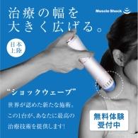 ○Muscle Shock(マッスルショック)とは、 ショックウェーブの中でも、浅筋膜、深筋膜、 筋、腱に効果的な拡散型圧力波を採用しているので、 今までの低周波や高周波、超音波などの物療機器では 効果の出しづらい、難治性の痛みや、可動域拡大にも 即効性があります。  ●これ一台で、ここまでできる。 筋膜リリース 除痛効果 血管新生効果 腱障害 筋緊張緩和 骨形成の促進 皮膚のコラーゲン生成 石灰沈着の縮小・吸収作用 セルライト除去 結合組織のチキソトロピー効果 ゲートコントロール理論 トリガーポイント療法 ※適用例です